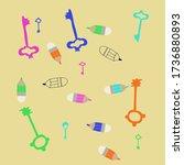 simple keys and pencils. hand... | Shutterstock . vector #1736880893