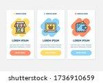 oneboarding app screens cards e ... | Shutterstock . vector #1736910659