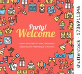 welcome party invitation card... | Shutterstock . vector #1736911346