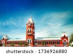 Puratchi Thalaivar Dr. MGR Central railway station,CHENNAI CENTRAL RAILWAY STATION, INDIA, TAMILNADU beautiful view day light blue say