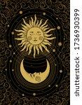 divine golden crescent moon... | Shutterstock .eps vector #1736930399