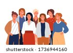 group portrait of adorable... | Shutterstock .eps vector #1736944160