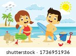 Boy And Girl Holding Surf Boar...