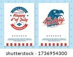set of vintage 4th of july... | Shutterstock .eps vector #1736954300