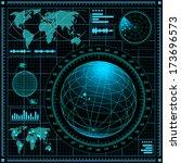 radar screen with world map.... | Shutterstock . vector #173696573