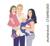 young modern family with two... | Shutterstock .eps vector #1736981003