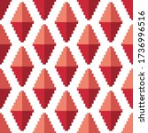 red volumetric pixel rhombuses... | Shutterstock .eps vector #1736996516