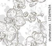 floral seamless pattern  black... | Shutterstock .eps vector #173699654