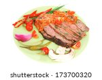 corned beef on plate with... | Shutterstock . vector #173700320