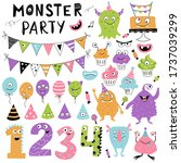 monster party element set with... | Shutterstock .eps vector #1737039299