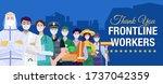 thank you frontline workers... | Shutterstock .eps vector #1737042359
