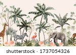hand drawn tropical vintage... | Shutterstock .eps vector #1737054326