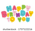 happy birthday to you. kawaii... | Shutterstock .eps vector #1737122216
