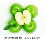 green apple fruits isolated on... | Shutterstock . vector #173712704