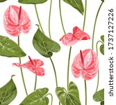 anthurium. seamless floral... | Shutterstock .eps vector #1737127226