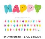 balloon comic font for kids.... | Shutterstock .eps vector #1737155306