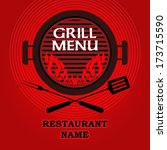 barbecue menu design   grill... | Shutterstock .eps vector #173715590