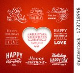 set of valentine's and wedding... | Shutterstock .eps vector #173718998