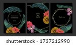 set of jungle cards with palm... | Shutterstock .eps vector #1737212990