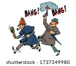 detective holmes and dr. watson.... | Shutterstock .eps vector #1737249980