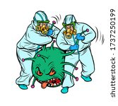 doctors in protective suits and ... | Shutterstock .eps vector #1737250199
