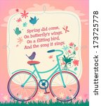 bicycle on the spring field.... | Shutterstock .eps vector #173725778