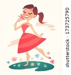 girl is walking and smelling... | Shutterstock .eps vector #173725790