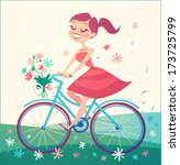 Girl Is Riding Bike On Spring...