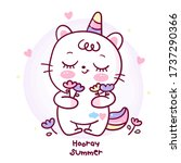 flat unicorn cat cartoon pony... | Shutterstock .eps vector #1737290366