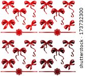 big set of red gift bows with... | Shutterstock .eps vector #173732300