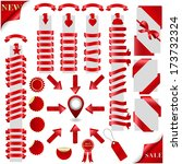 big red ribbons set and marker... | Shutterstock .eps vector #173732324