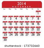 November 2014 Calendar Vector.