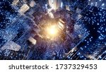 sci fi glowing dark tunnel with ... | Shutterstock . vector #1737329453