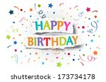 happy birthday greetings on... | Shutterstock .eps vector #173734178