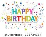 happy birthday greetings  | Shutterstock .eps vector #173734184