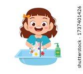 Happy Cute Little Kid Girl Was...