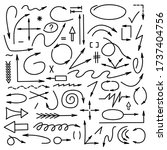 arrows collection. hand drawn....   Shutterstock .eps vector #1737404756