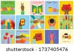 big set of different hands... | Shutterstock .eps vector #1737405476