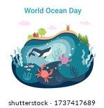 world ocean day. june 8.... | Shutterstock .eps vector #1737417689