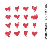 doodle hearts  hand drawn love... | Shutterstock .eps vector #1737454109