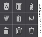 vector black trash can icons... | Shutterstock .eps vector #173745593