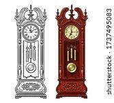antique grandfather pendulum...   Shutterstock .eps vector #1737495083