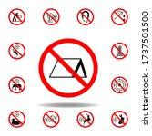 forbidden tent icon on white...