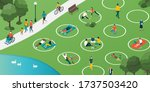 social distancing circles in... | Shutterstock .eps vector #1737503420