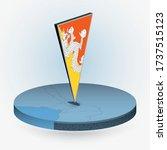 bhutan map in round isometric... | Shutterstock .eps vector #1737515123