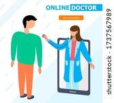 online doctor consultation.... | Shutterstock .eps vector #1737567989