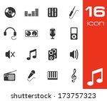 vector black music icons set on ...   Shutterstock .eps vector #173757323