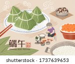 miniature grandma wrapping rice ... | Shutterstock .eps vector #1737639653