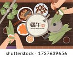 top view of hands wrapping rice ... | Shutterstock .eps vector #1737639656