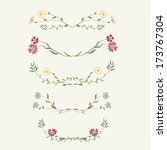 vector set of floral elements  | Shutterstock .eps vector #173767304